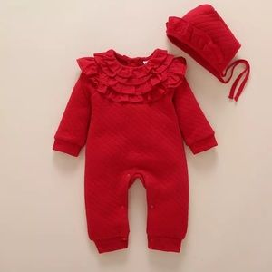 Other - 🌸Baby girl warm romper with bonnet